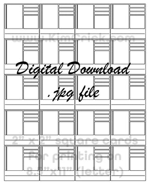 Digital File - Complex Swatch Card Printable (20 tiled 2