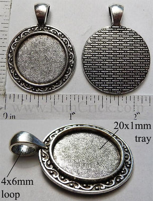 20mm Circle Pendant Tray Solid Ring Deco Plate Edge Brick Back Antiqued Silver (Optional Insert)