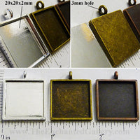 20x20x2mm Square Smooth Back Pendant Tray (Select a Color)