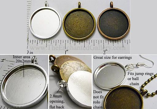 20mm x 20mm x 1mm Circle Pendant Tray Plain Style Smooth Back (Select Color, Amount, or Optional Insert)