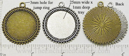 25mm x 25mm x 1mm Circle Pendant Tray Triple Ring Dotted Border (Select Color or Optional Insert)