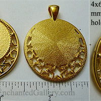 25mm Circle Pendant Tray Openwork Stars Border Golden (Select Optional Insert)