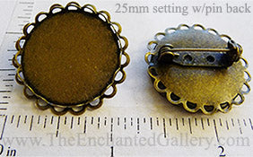 25mm x 25mm x 1mm Circle Pin Back Tray Two Layer Scallop Lace Edge Brooch Bronze (Select Optional Insert)