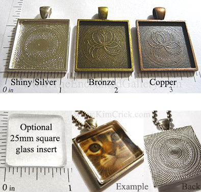 25x25x2mm Square Pendant Tray Textured Shiny Silver Bronze Copper Glass Insert