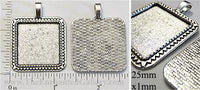 25mm Square Triangle Border Textured Bezel Pendant Tray Antiqued Silvertone