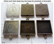 25mm x 25mm x 2mm Square Two-Loop Textured Blank Pendant Tray  (Select Color or Optional Insert)