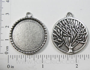 25mm x 25mm x 1mm Circle Pendant Tray Dotted Frame Reversible with Tree Art Back Silvertone (Select Optional Insert)