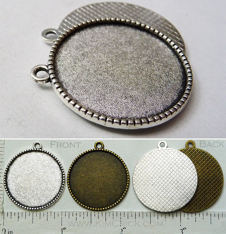 Clearance SALE 25 Pack - 25mm x 1mm Simple Rope Edge Waffle Back Pendant Tray Round Blank (Select Silver or Bronze Finish)