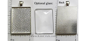 25x35mm Rectangle Textured Pendant Tray Shiny Silver (Select Amount or Optional Insert)