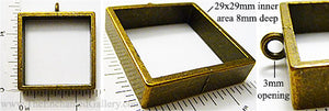 Open Back Deep Square 29mm x 29mm x 8mm Bronzetone Frame Jewelry Pendant