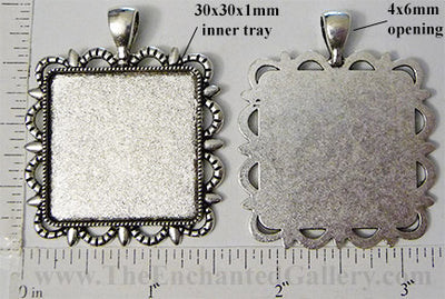 30mm Square Roped Scallop and Points Border Pendant Tray Antiqued Silvertone
