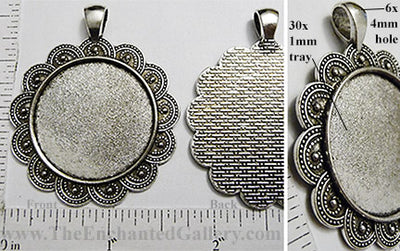 30mm Circle Pendant Tray Overlapping Scallop Doily Border Textured Back Antiqued Silver (Select Amount or Optional Insert)