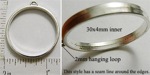 Open Back Thin Ring Frame 30mm x 4mm Seamed Silvertone