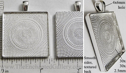 30mm Square Textured Pendant Tray Shiny Silver