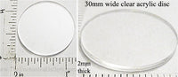 Laser Cut Acrylic Clear 30mm Circle Disc 5 Pack (Flat, No Hole)