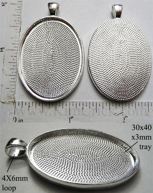 30mm x 40mm x 3mm Oval Pendant Tray Textured with Bail Silver (Select Optional Insert)
