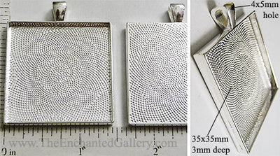 35mm XL Square Textured Pendant Tray Silvertone