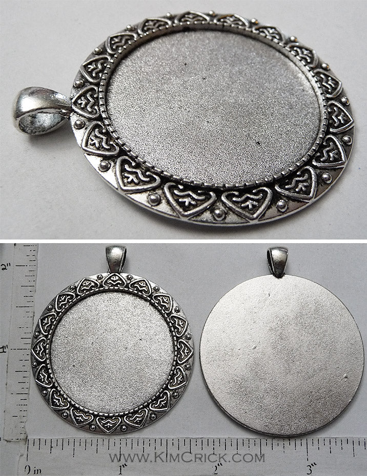 35mm x 1mm Circle Regal Heart Leaf Border Pattern Pendant Tray with 5x6mm Bail Smooth Back Antiqued Silver
