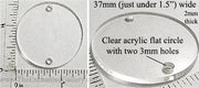 Laser Cut Acrylic Clear 37mm Circle Charm with Hole (Select an Amount)