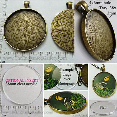 38x38x3mm Circle Textured Bronzetone Pendant Tray (Cover Insert Optional)
