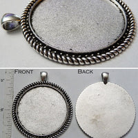 40mm x 1mm Rope Dot Line Border Pendant Tray Smooth Back with 4x6mm Bail