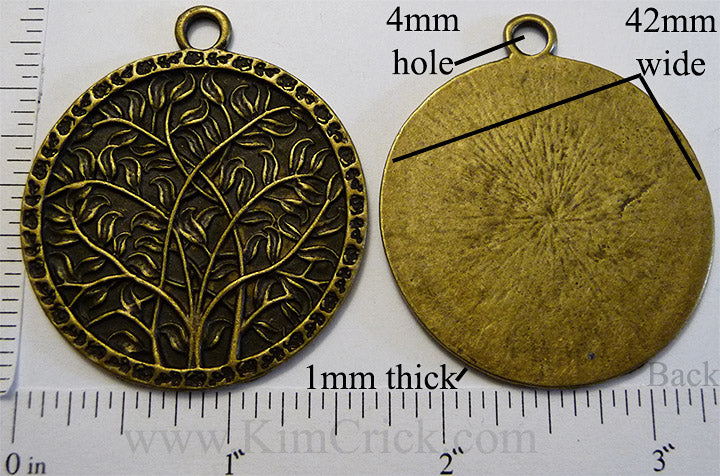 42mm Large Circle Branches and Leaves Motif Pendant Charm Bronzetone