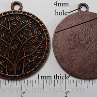 42mm Large Circle Branches and Leaves Motif Pendant Charm Antiqued Coppertone