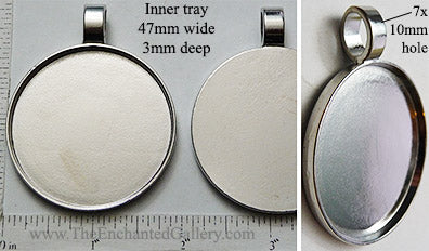 47x3mm XL Circle Smooth Pendant Tray Silvertone