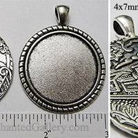 30mm Circle Pendant Tray Art Nouveau Train Journey Back Antiqued Silver (Select Amount or Optional Insert)