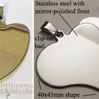 Abstract Heart Stainless Steel Flat Dog Tag Style Pendant