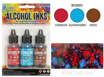 Rodeo Alcohol Inks Sepia Aquamarine Crimson Tim Holtz Ranger 3 pack bottles color chart domino example