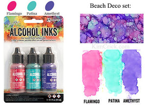 Alcohol Ink 3 Pack Beach Deco Set - Flamingo, Patina, Amethyst