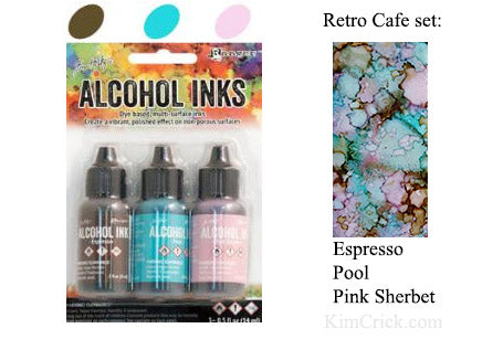 Alcohol Ink 3 Pack Retro Cafe Set - Espresso, Pool, Pink Sherbet