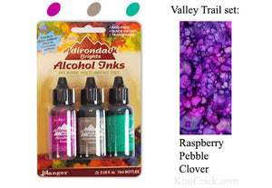 Alcohol Ink 3 Pack Valley Trail Set - Raspberry, Pebble, Clover