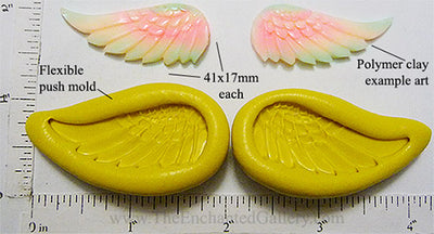 Flexible Push Mold Hand Carved Wing Pair Left and Right