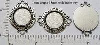 18mm Circle Pendant Tray Dial Border Tray Two Curved Loops Antiqued Silver (Select Optional Insert)