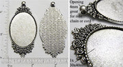 30x40mm Oval Pendant Tray Rose Flower Bouquet Border Antiqued Silver (Select Amount or Optional Insert)