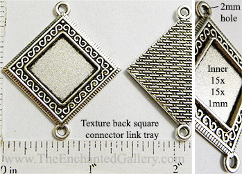 15x15x1mm Diamond Square Textured with Two Connector Loops Antiqued Silvertone