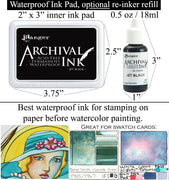 Waterproof Jet Black Archival Ink for Stamp Watercolor Swatch Cards (Select Option Ink Pad, Refill Re-inker OR Bundle)