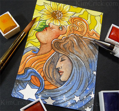 Original Watercolor Painting Art Nouveau Style Day and Night (ATC ACEO size, not a print)