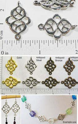 Art Nouveau Connector Knot Charm Metal Bead 10 Piece Pack (Select a Color)
