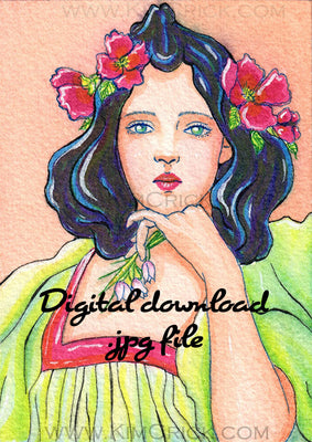 Digital File - Art Nouveau Woman Schmincke Aqua Drop Watercolor Artwork Color Painting Scan Printable Download