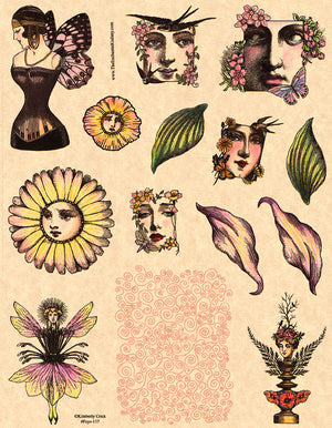 Unmounted Rubber Stamp Set Fairy Collage #Feys-117
