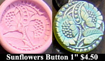 Flexible Push Mold Art Nouveau Sunflower One Circle Button
