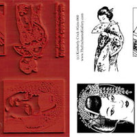Unmounted Rubber Stamp Set Asian Art #Geis-060