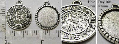 16mm Circle Astrology Star Sign Pendant Tray Antiqued Silvertone 10 Pack