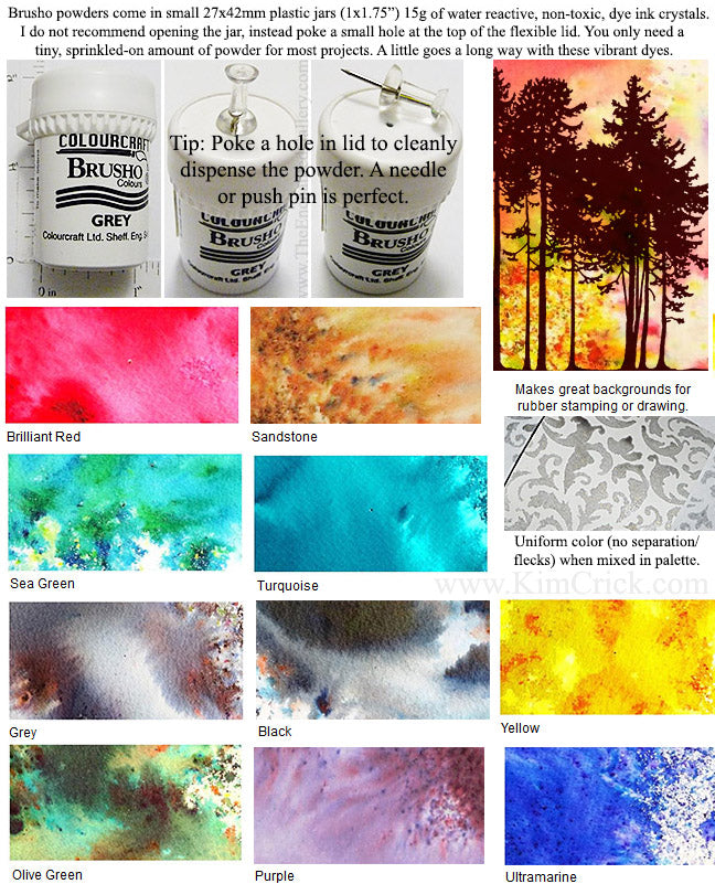 Brusho Watercolor Dye Dry Powder Crystals 15g Jar (Select a Color)