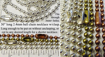 Ball chain necklace iron metal silver bronze or copper pendant hanger jewelry making supplies