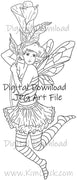 Digital File - Bee Fairy Line Art Drawing Printable Valentine Clip Art Digi Stamp Download