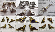 3d Bird Beads 6mm x 15mm with 1mm hole